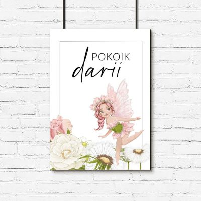 Kwiatowy plakat dziewczęcy z napisem
