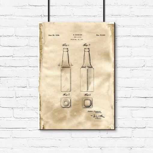 Plakat retro z butelka do piwa - patent