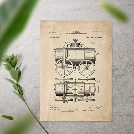 Plakat patent XIXw. na konstrukcję means for transporting beer