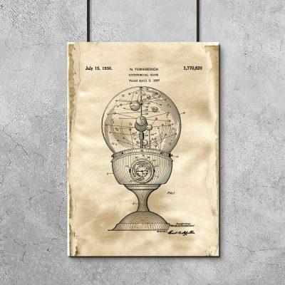 Plakat z patentem na zegar astronomiczny do salonu
