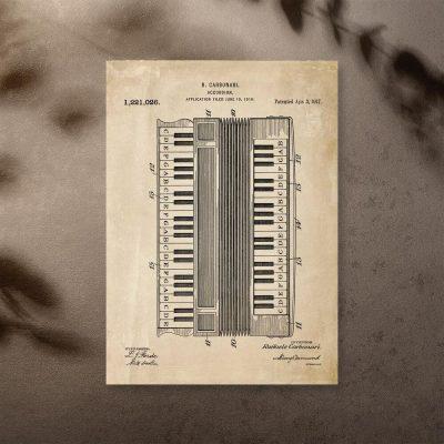 Plakat opis akordeonu w stylu retro