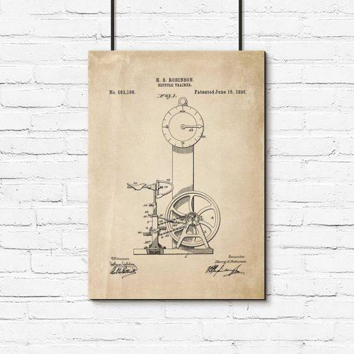 Plakat patent na pierwszy rowerek treningowy 1896r.