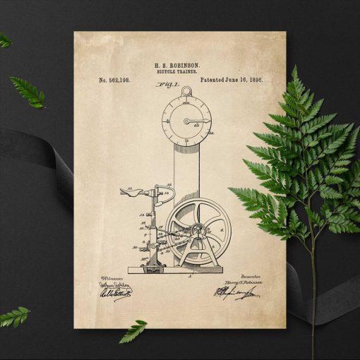 Plakat w sepii na rowerek treningowy - patent 1896r.
