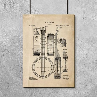 Plakat z reprodukcją rysunku patentowego - Bandżo