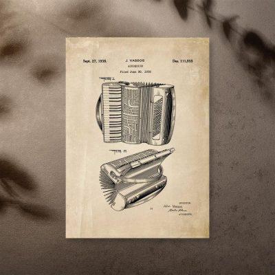 Plakat vintage ze schematem akordeonu