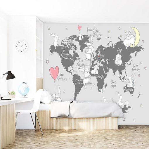Foto-tapeta z kontynentami dla dzieci