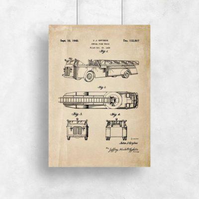 Plakat vintage z wozem strażackim