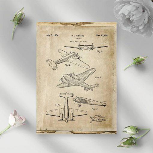 Plakat projekt pierwszego samolotu pasażerskiego