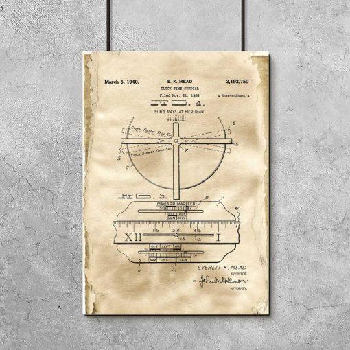 Poster z reprodukcją patentu na zegar słoneczny do salonu