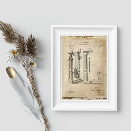Plakat z maszyną do ćwiczeń - patent z 1880r.
