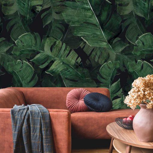 Fototapeta liście z tropików do dekoracji salonu