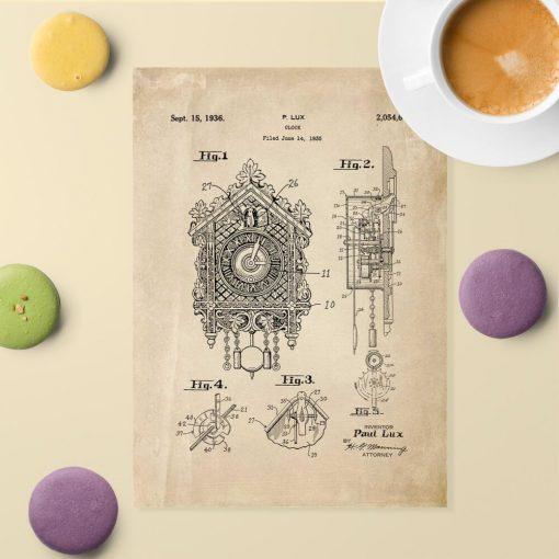 Plakat z reprodukcją rysunku opisowego zegara z kukułką do jadalni
