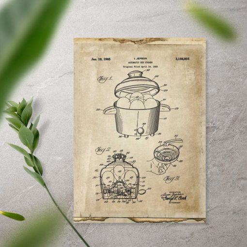 Plakat z upoważnieniem do produkcji automatu do gotowania jajek