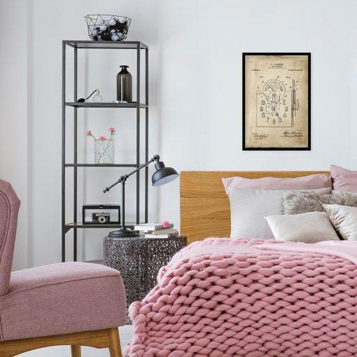 Poster z reprodukcją rysunku opisowego zegara do sypialni