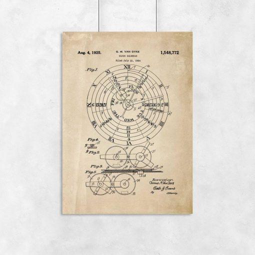 Plakat z kalendarzem mechanicznym - patent z roku 1924