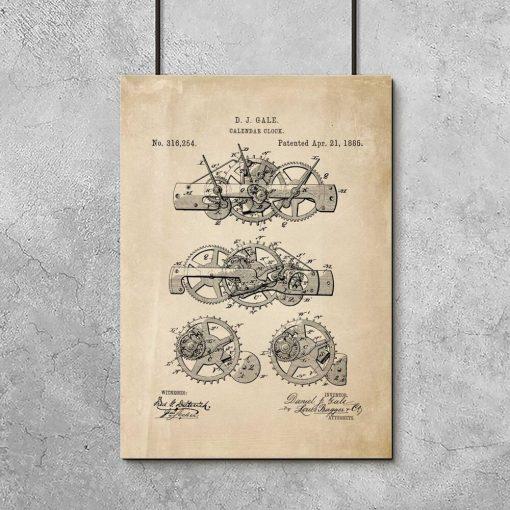 Plakat patent na kalendarz mechaniczny