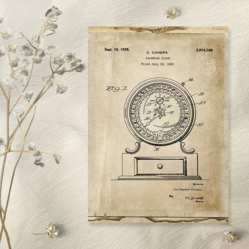 Plakat mechaniczny kalendarz - patent z roku 1930