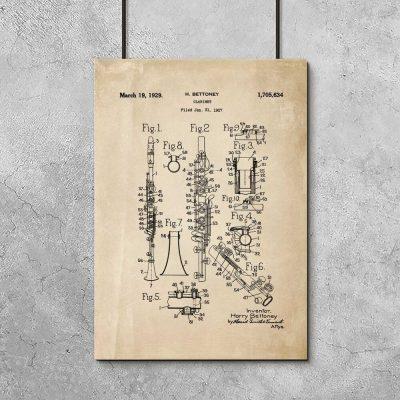 Plakat retro patent na produkcję klarnetu - 1927r.