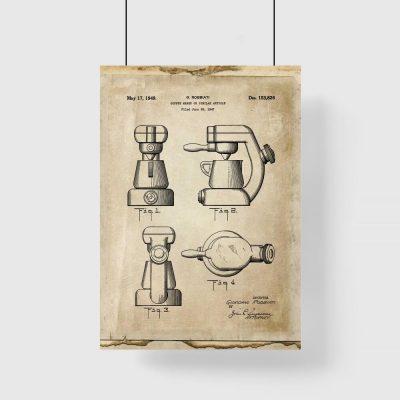 Plakat z patentem na ekspres do kawy z 1947 roku do kawiarni