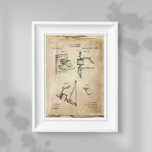 Plakat z urządzeniem obscura - patent z roku 1881