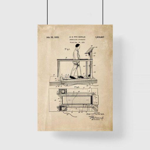 Poster z rysunkiem patentowym bieżni do siłowni