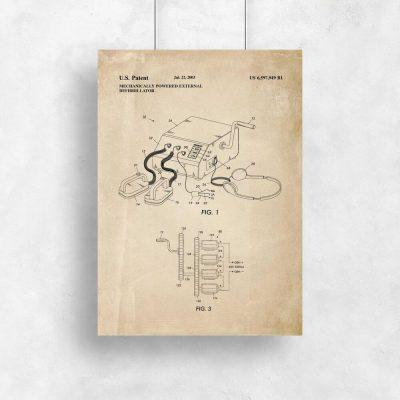 Plakat z ryciną patentu na defibrylator - 2003r.