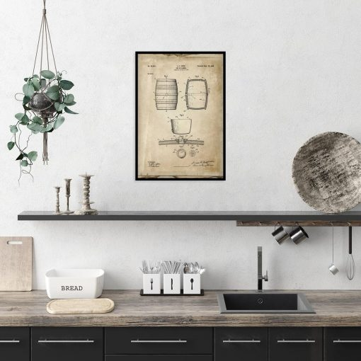Plakat z rysunkiem patentowym beczki do gabinetu