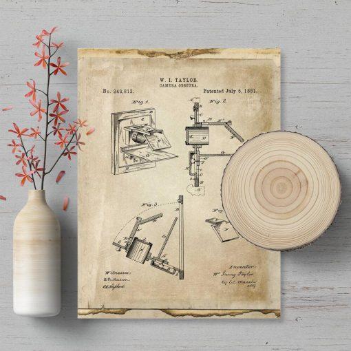 Plakat pierwszy aparat fotograficzny - patent