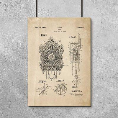 Plakat z reprodukcją rysunku opisowego zegara z kukułką do gabinetu