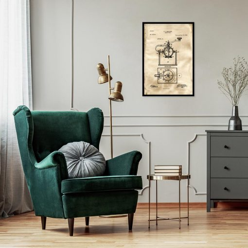 Plakat z reprodukcją rysunku patentowego młynka do kawy do restauracji