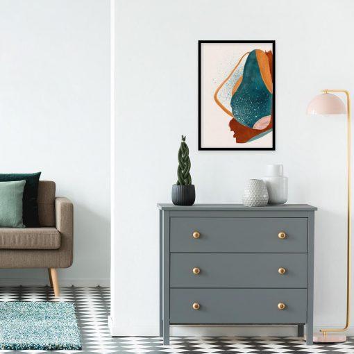 Abstrakcyjny plakat w kolorze turkusowym do pokoju