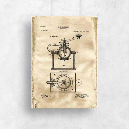 Plakat z reprodukcją rysunku patentowego młynka do kawy do kawiarni