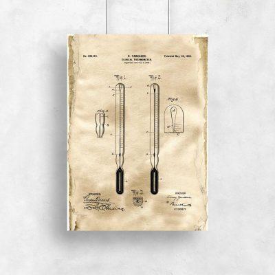 Plakat ze schematem budowy termometru
