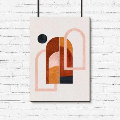 Plakat z oknami i czarną kropką do oprawienia