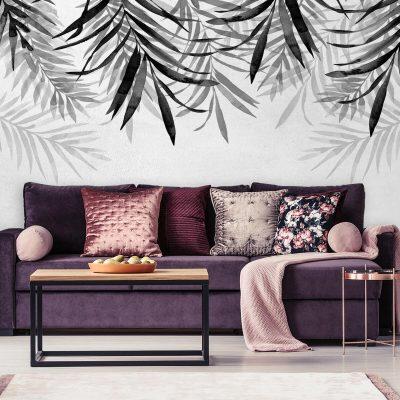 Foto-tapeta z szarymi gałązkami palmy