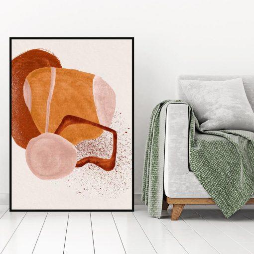 Plakat z beżową abstrakcją do gabinetu