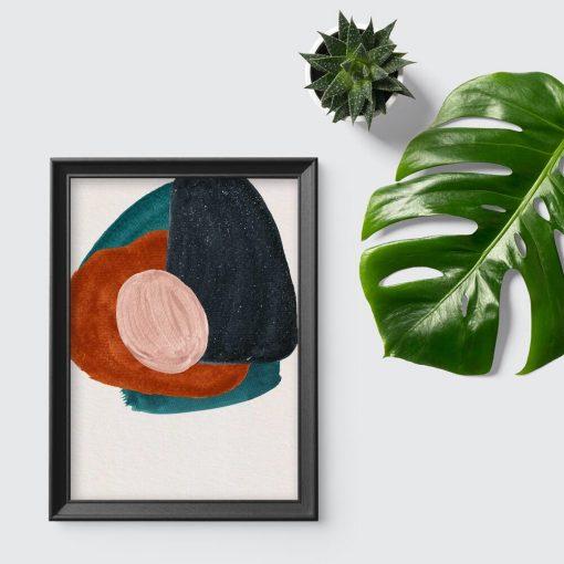 Plakat z abstrakcyjnymi kleksami do dekoracji poczekalni