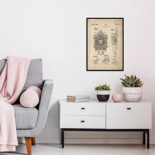 Plakat z reprodukcją rysunku opisowego zegara z kukułką do salonu