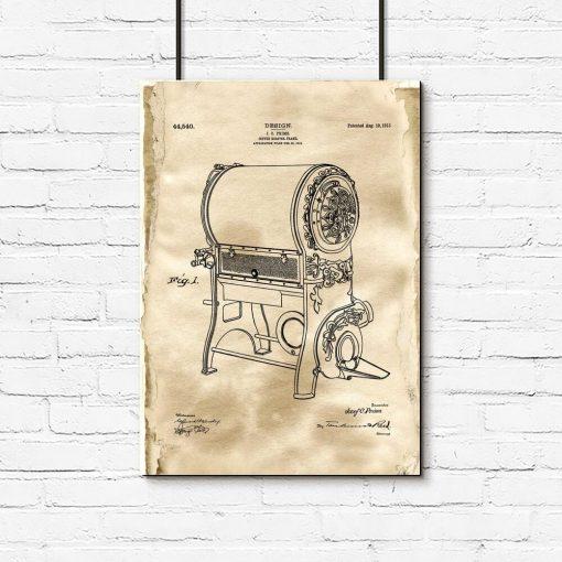 Poster z rysunkiem opisowym pieca do kawy dla baristy