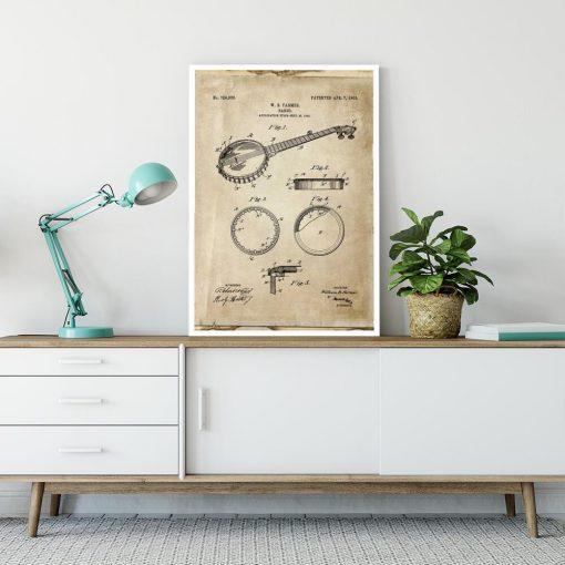Plakat z rysunkiem obrazowym gitary do gabinetu