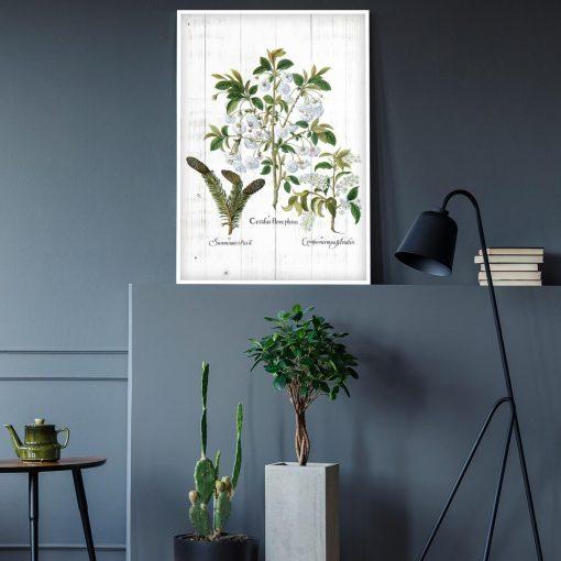 Plakat z białymi kwiatami na deskach do gabinetu