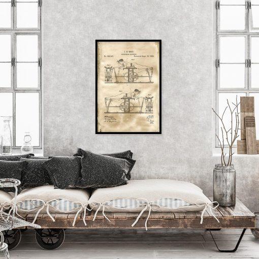 Plakat z rysunkiem patentowym maszyny do ćwiczeń do salonu