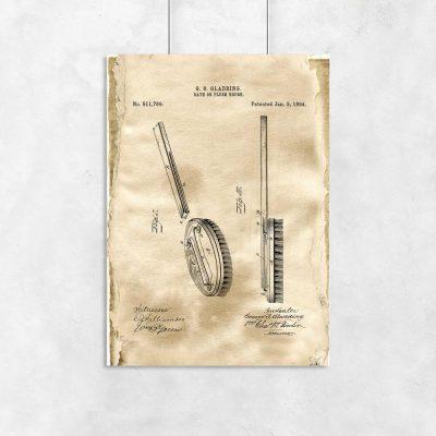 Plakat z patentem na szczotkę do dekoracji gabinetu