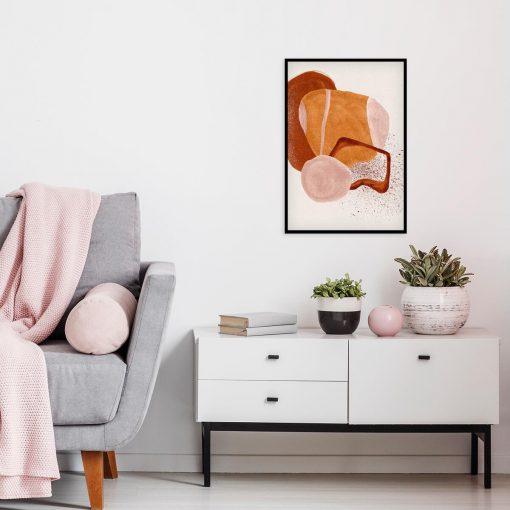 Plakat z beżową abstrakcją do jadalni