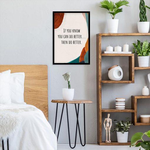Plakat typograficzny z angielską sentencją do sypialni