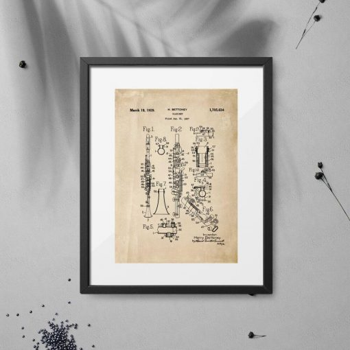 Plakat vintage z certyfikatem produkcji klarnetu