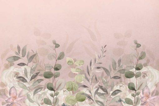 Różowa fototapeta w liście