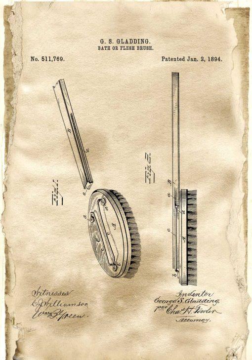 Plakat z patentem na szczotkę do łazienki