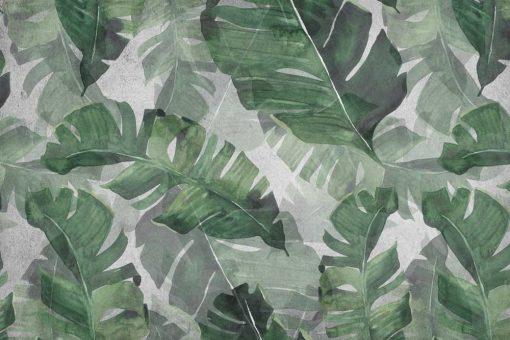 Tapeta zielone liście z dżungli do montażu w salonie