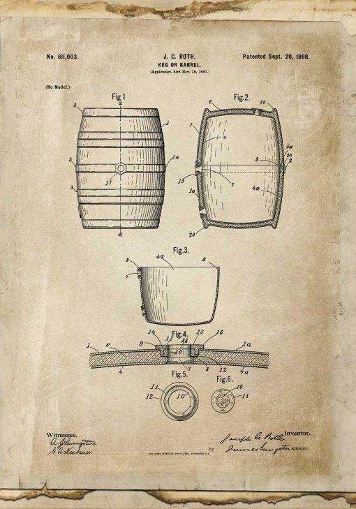 Plakat z rysunkiem patentowym beczki do pokoju młodzieżowego